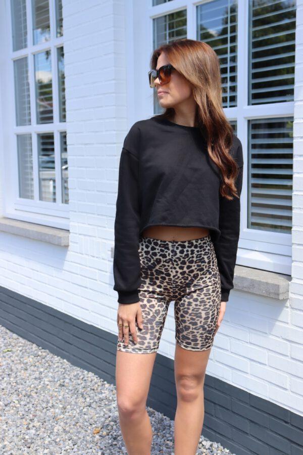 Crop sweater zwart